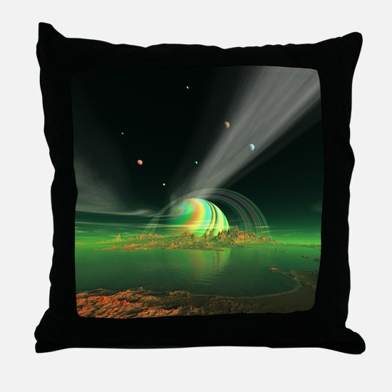 Moon View on Planet Newerades Throw Pillow
