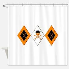 Orange Argyle Clockwork Shower Curtain