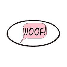 Woof In Pink Speech Bubble Patch