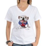 Bull dog with union jack Womens V-Neck T-shirts