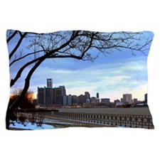 Detroit Skyline at sundown Pillow Case