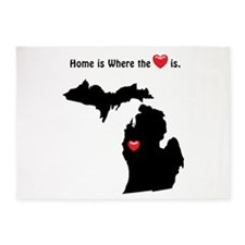 MICHIGAN Home is Where the Heart Is 5'x7'Area Rug