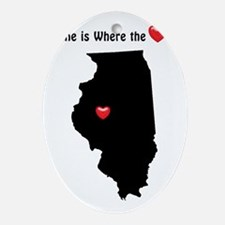 ILLINOIS Home is Where the Heart I Ornament (Oval)