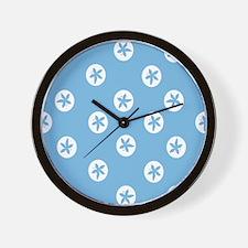Sand Dollars on Aquamarine Wall Clock