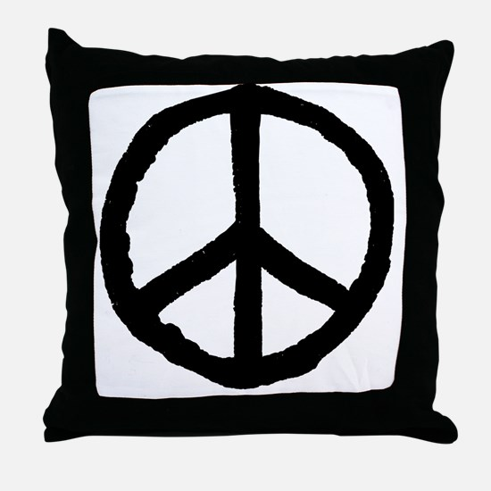 Rough Peace Symbol - Black Throw Pillow
