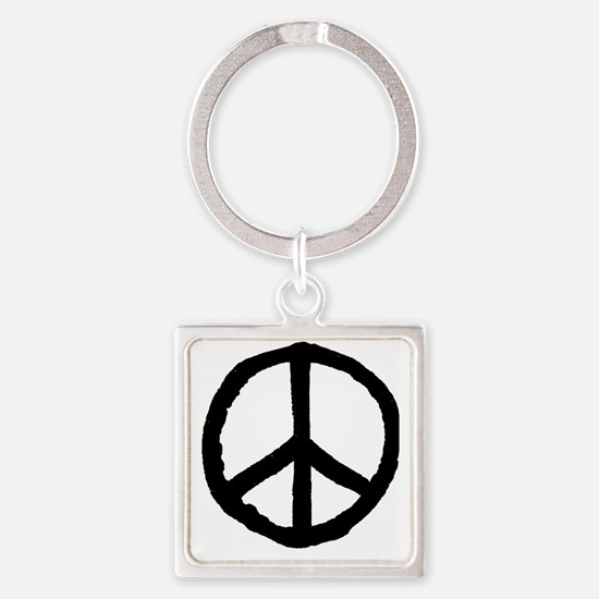 Rough Peace Symbol - Black Square Keychain