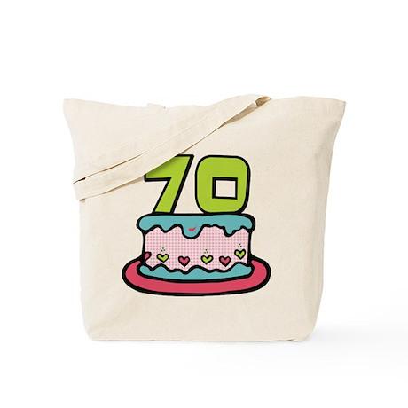 70 Year Old Birthday Cake Tote Bag