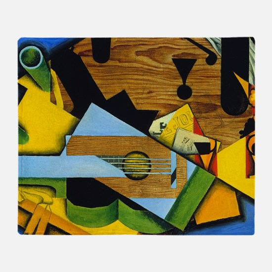 Still Life with a Guitar by Juan Gri Throw Blanket