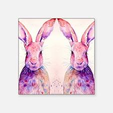 """Watercolor Tow Rabbits Hare Square Sticker 3"""" x 3"""""""