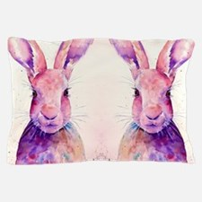 Watercolor Tow Rabbits Hares Pillow Case