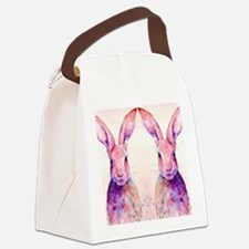 Watercolor Tow Rabbits Hares Canvas Lunch Bag