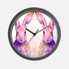 Watercolor Tow Rabbits Hares Wall Clock