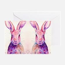 Watercolor Tow Rabbits Hares Greeting Card
