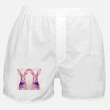 Watercolor Tow Rabbits Hares Boxer Shorts