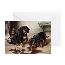 Two Dachshunds by Carl Reichert Greeting Card