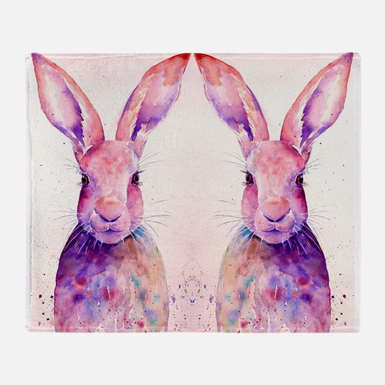 Watercolor Tow Rabbits Hares Throw Blanket