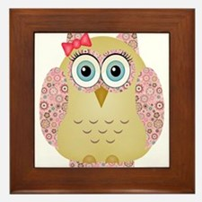 Owl with Floral wings Framed Tile