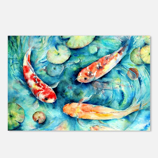 Watercolor Koi In Lily Postcards (package Of 8)