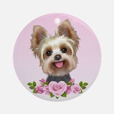Yorkie pink roses 2 Ornament (Round)