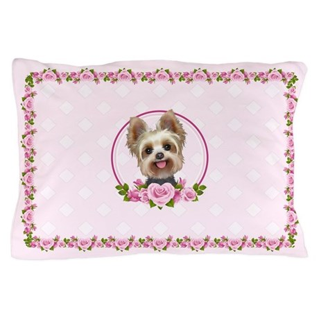 Yorkie Pink Roses 2 Pillow Case By Doggination