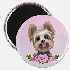 Yorkie pink roses 2 Magnet