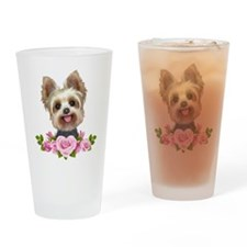Yorkie pink roses 2 Drinking Glass