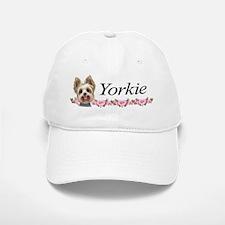 Yorkie pink roses 2 Baseball Baseball Cap