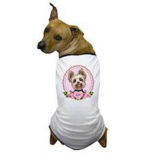Yorkie pink roses 2 Dog T-Shirt