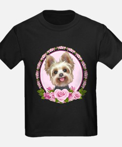 Yorkie pink roses 2 T