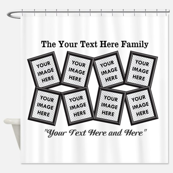 CUSTOM 8 Photo Frame Black Shower Curtain