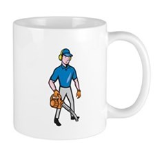 Gardener Landscaper Leaf Blower Cartoon Mugs