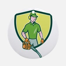 Gardener Landscaper Leaf Blower Crest Cartoon Orna