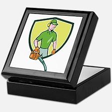 Gardener Landscaper Leaf Blower Crest Cartoon Keep
