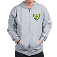Gardener Landscaper Leaf Blower Crest Cartoon Zip Hoodie