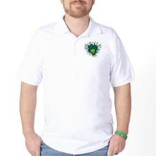 Green Man Head Hair Flowing Leaves Cartoon T-Shirt