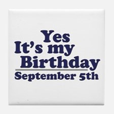 September 5th Birthday Tile Coaster