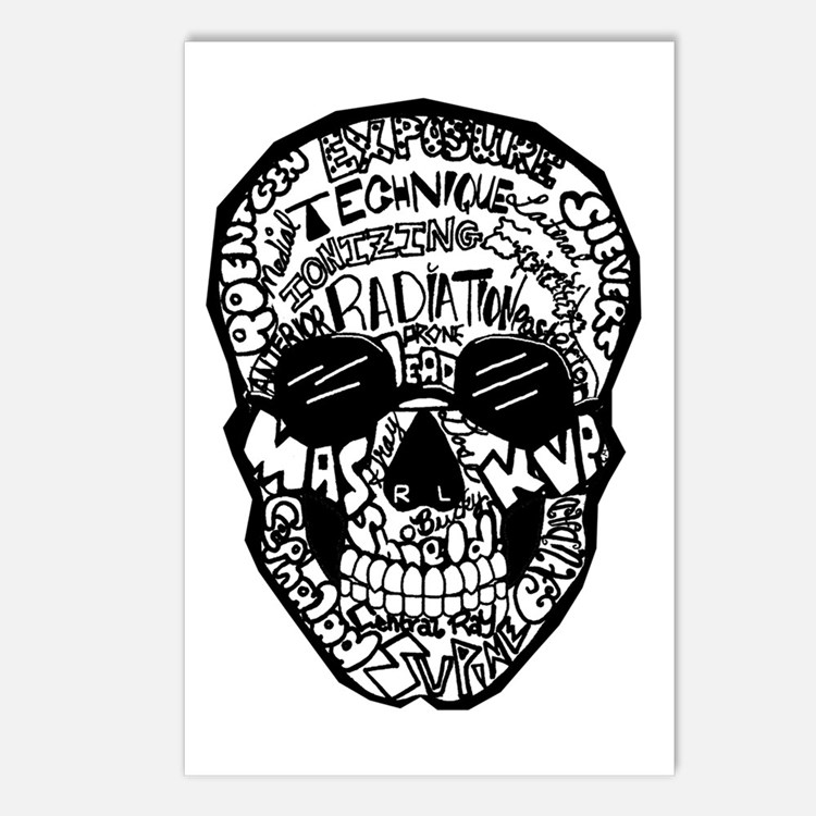 Radiology Terms Skull Postcards (Package of 8)