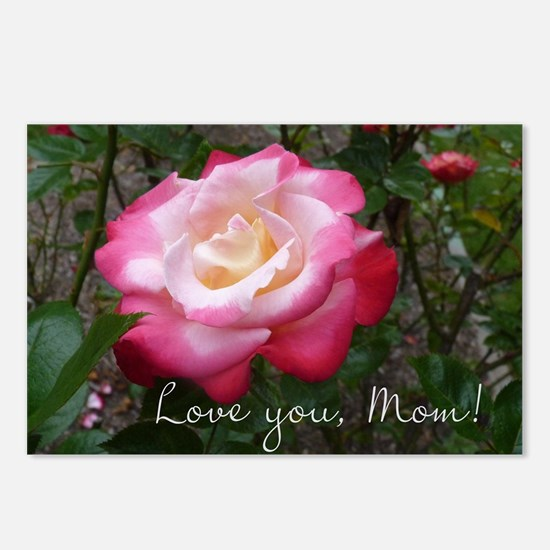 Love you Mom Rose Postcards (Package of 8)