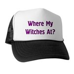 Witch on Broomstick Trucker Hat