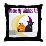 Witch on Broomstick Throw Pillow