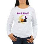 Witch on Broomstick Women's Long Sleeve T-Shirt