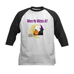 Witch on Broomstick Kids Baseball Jersey