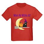 Witch on Broomstick Kids Dark T-Shirt