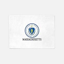Massachusetts Seal 5'x7'Area Rug