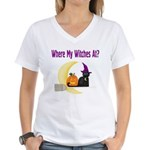 Witch on Broomstick Women's V-Neck T-Shirt