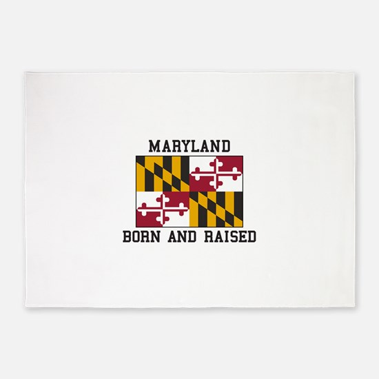 Born and Raised Maryland 5'x7'Area Rug