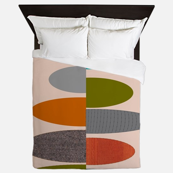 Mid-Century Modern Ovals and Abstracts Queen Duvet