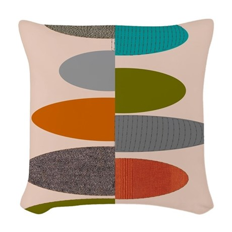 Mid Century Modern Ovals And A Woven Throw Pillow By Admin