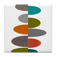 Mid-Century Modern Ovals and Abstract Tile Coaster