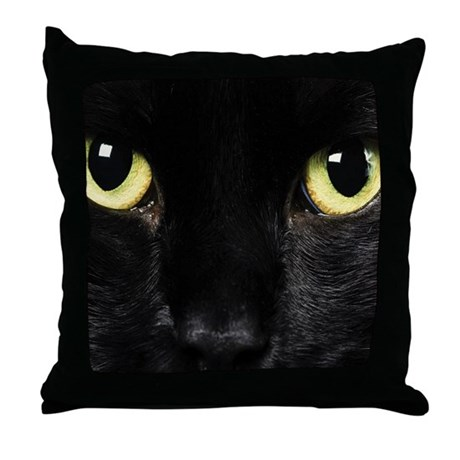 Black Cat Throw Pillow by WickedDesigns4